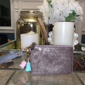 COACH grey floral zippered card pouch
